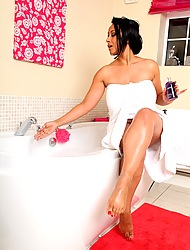 Danica slips into a nice hot bubble bath