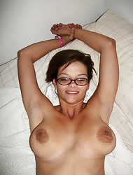 Slutty milf ex go steady with Amber L plays with her big tits increased by ends up sucking a load of shit in this scene