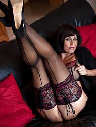Jan's Nylon Intercourse :: Jan Burton Hot British MILF Helter-skelter Stockings Increased by Pantyhose Intercourse